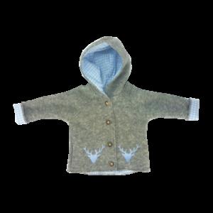 Wollwalkjacke grau blau vorne